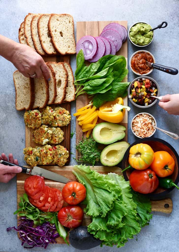 Overhead of sandwich platter