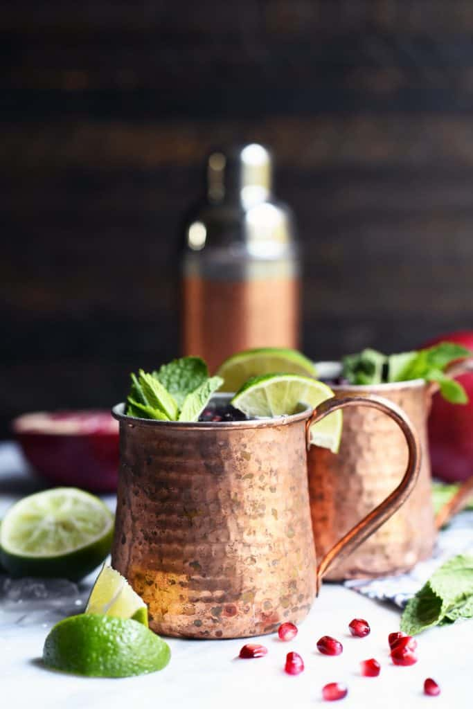 Side view of moscow mule mugs