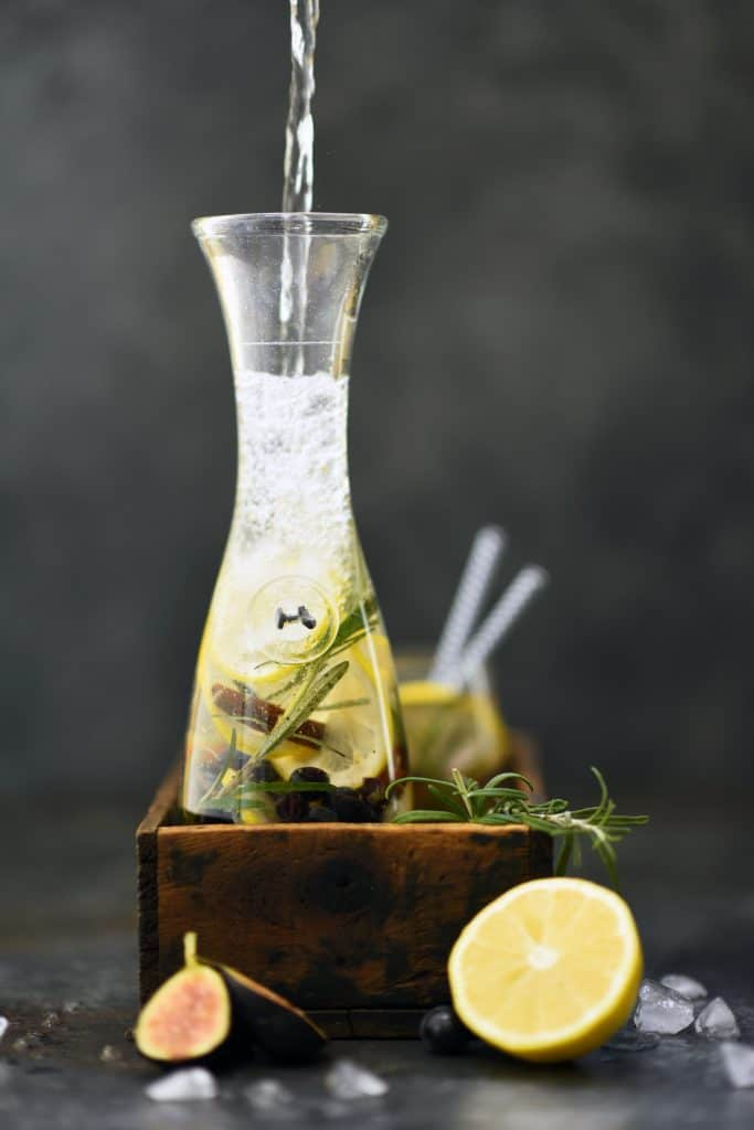 Fig lemon and rosemary infused water