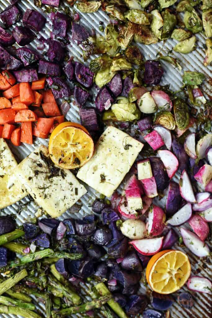 Sheet pan of rainbow roasted spring vegetables and tofu