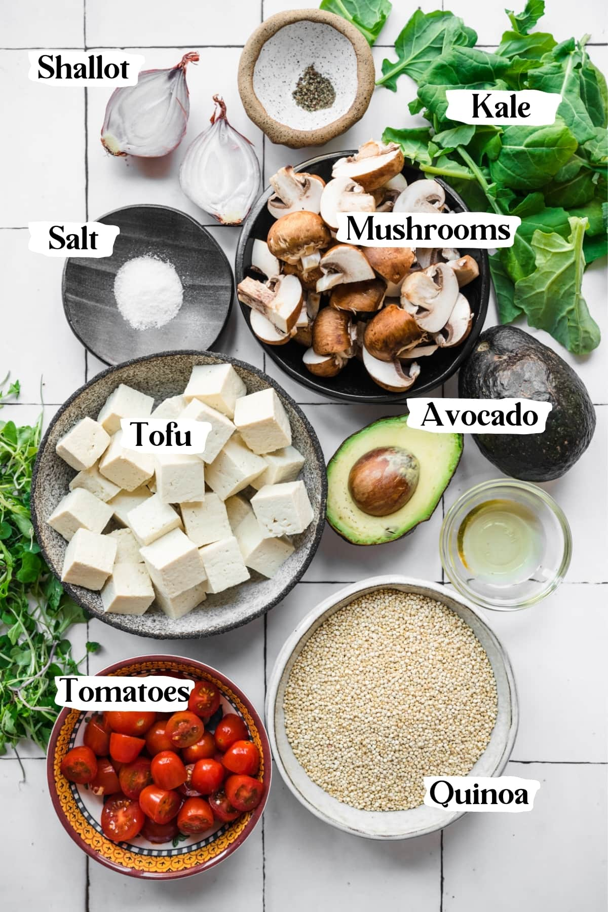 overhead view of ingredients for savory quinoa breakfast bowls.