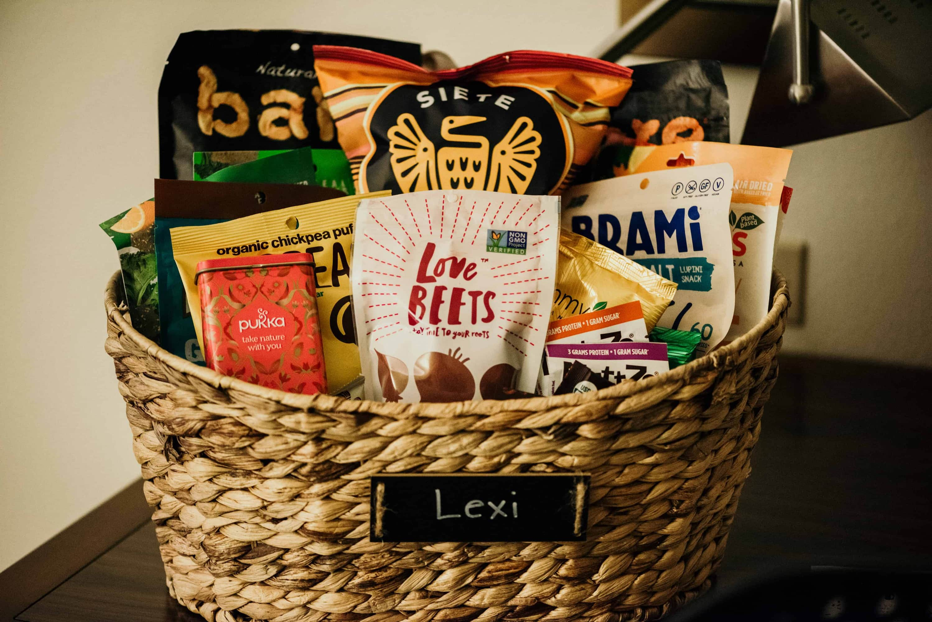 love beets products in a wicker basket with other plant-based products