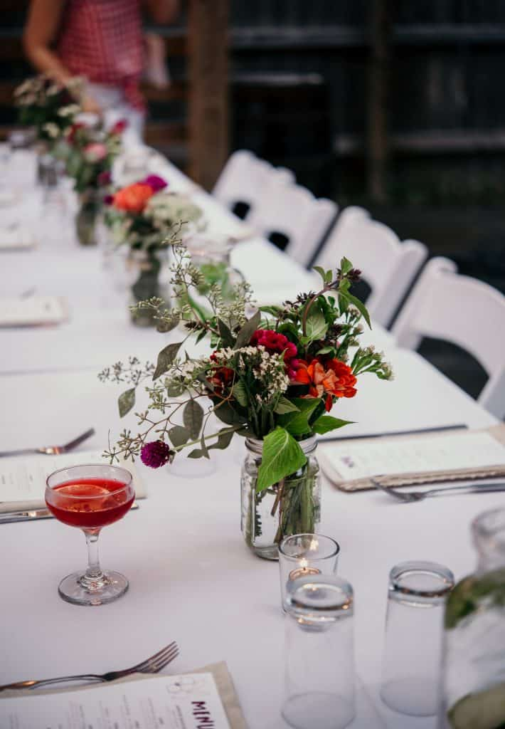 side view of the table setting at Love Beets farm dinner