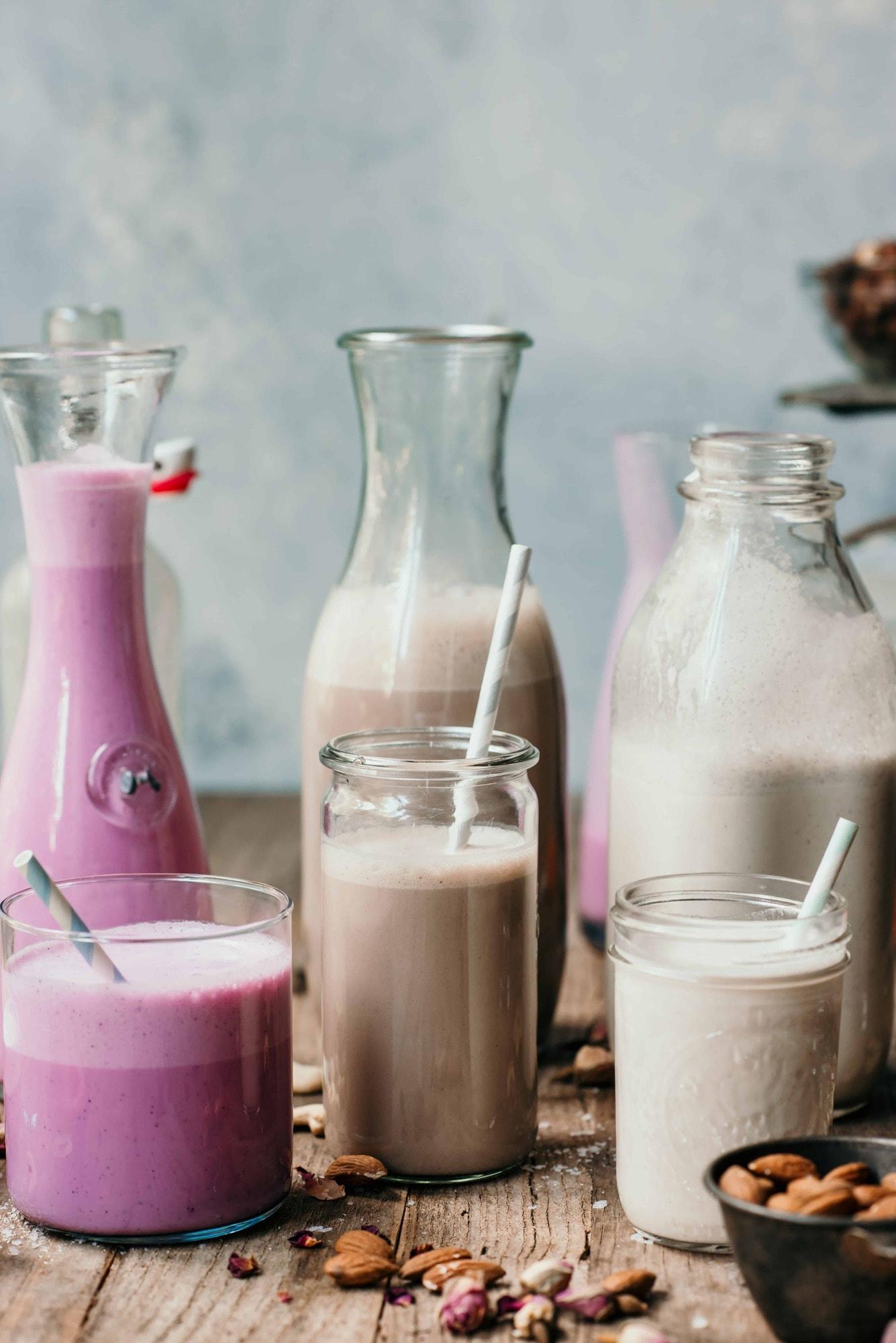 3 large jars of homemade nut milk