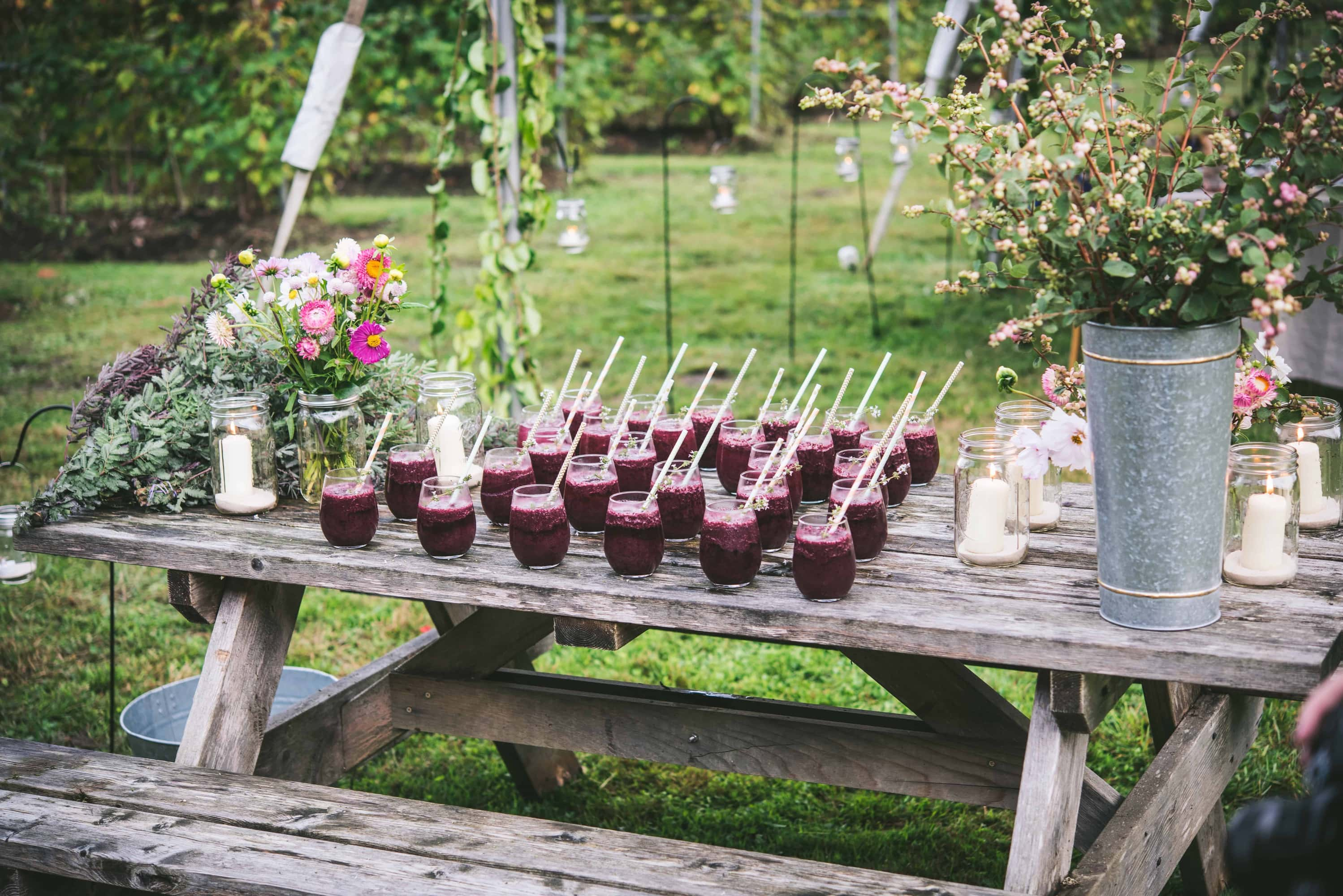 View of desserts set up on a rustic table at a farm