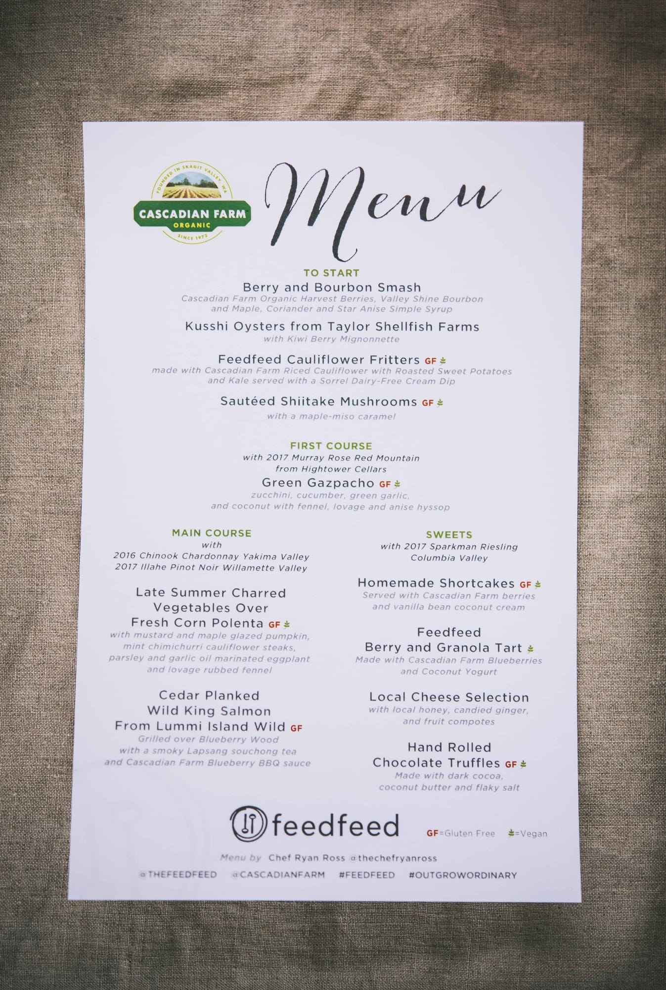 View of dinner party menu at Cascadian Farms