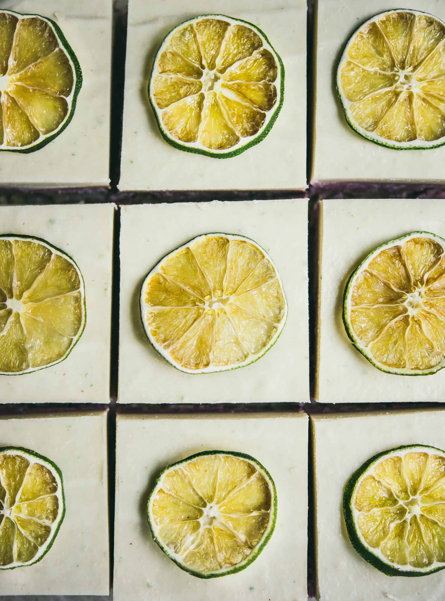 Close up of coconut lime cheesecake bars topped with slices of lime