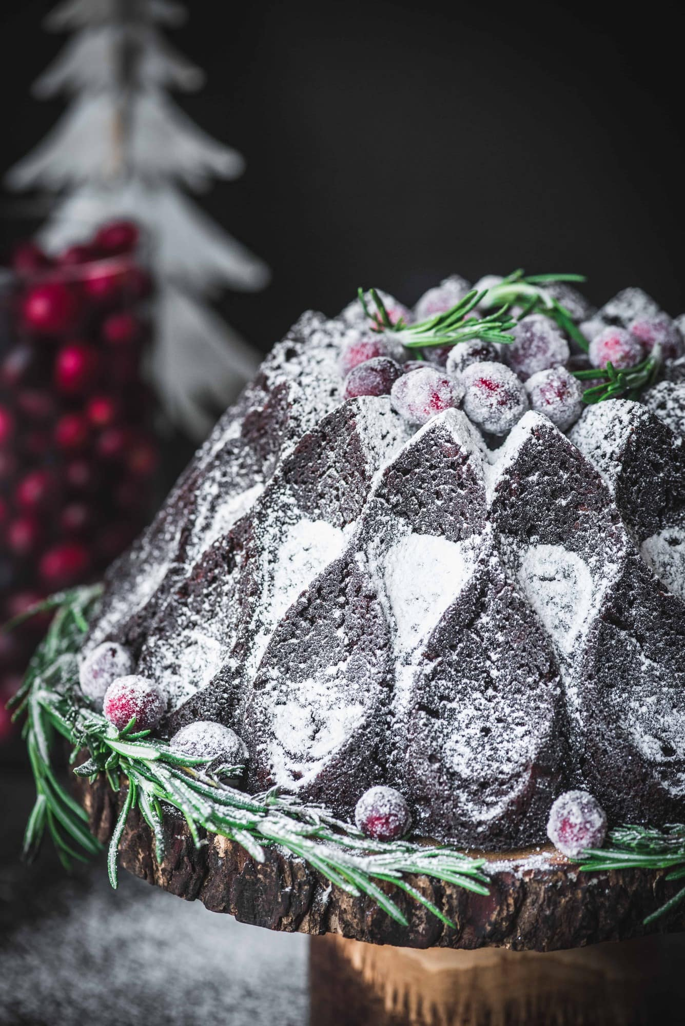 Close up of chocolate gingerbread bundt cake with powdered sugar and sugared cranberries