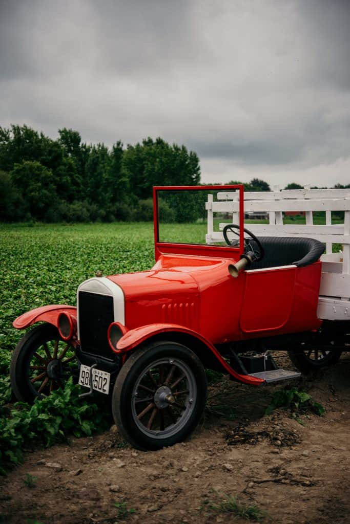Red tractor at the beet farm in New York