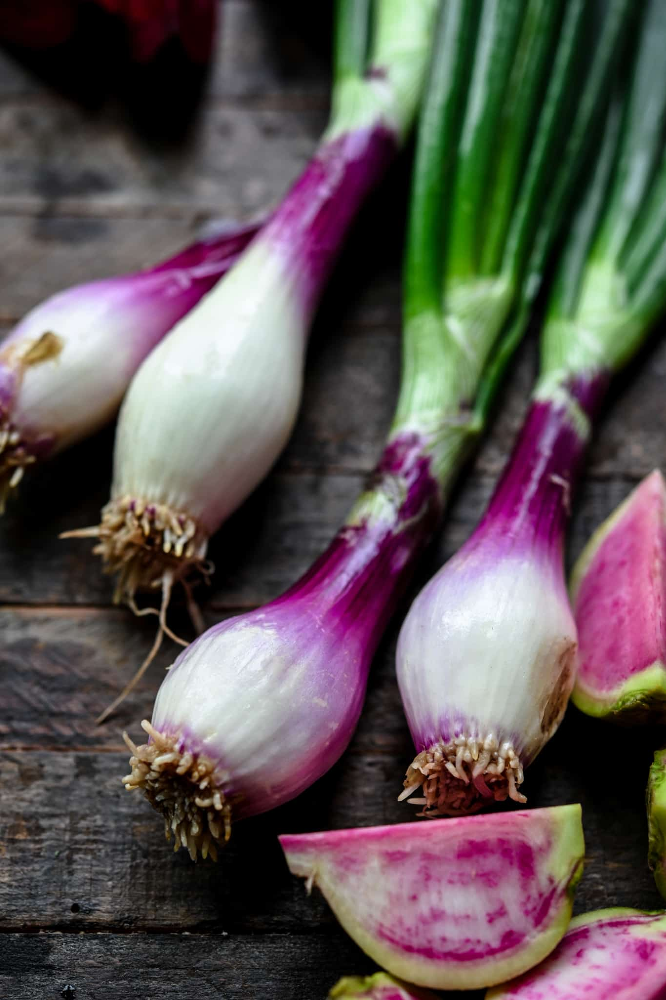 Close up of purple spring onions on wood background