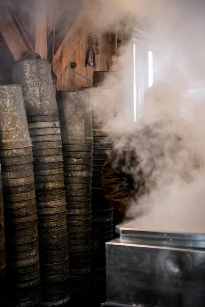 View of maple sap collection buckets in Sugarhouse with steam in foreground