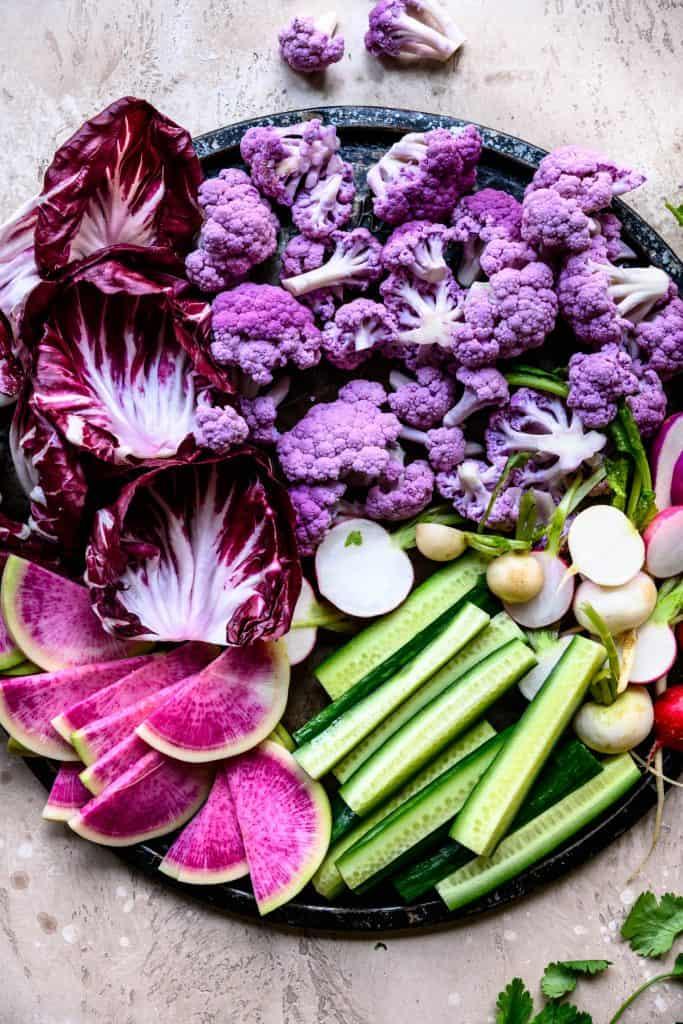 Overhead of beautiful raw vegetables for crudite platter