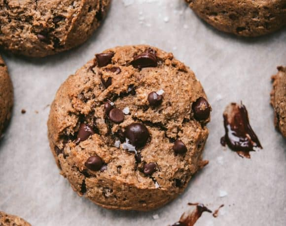 Close up overhead of vegan gluten free chocolate chip oatmeal cookies