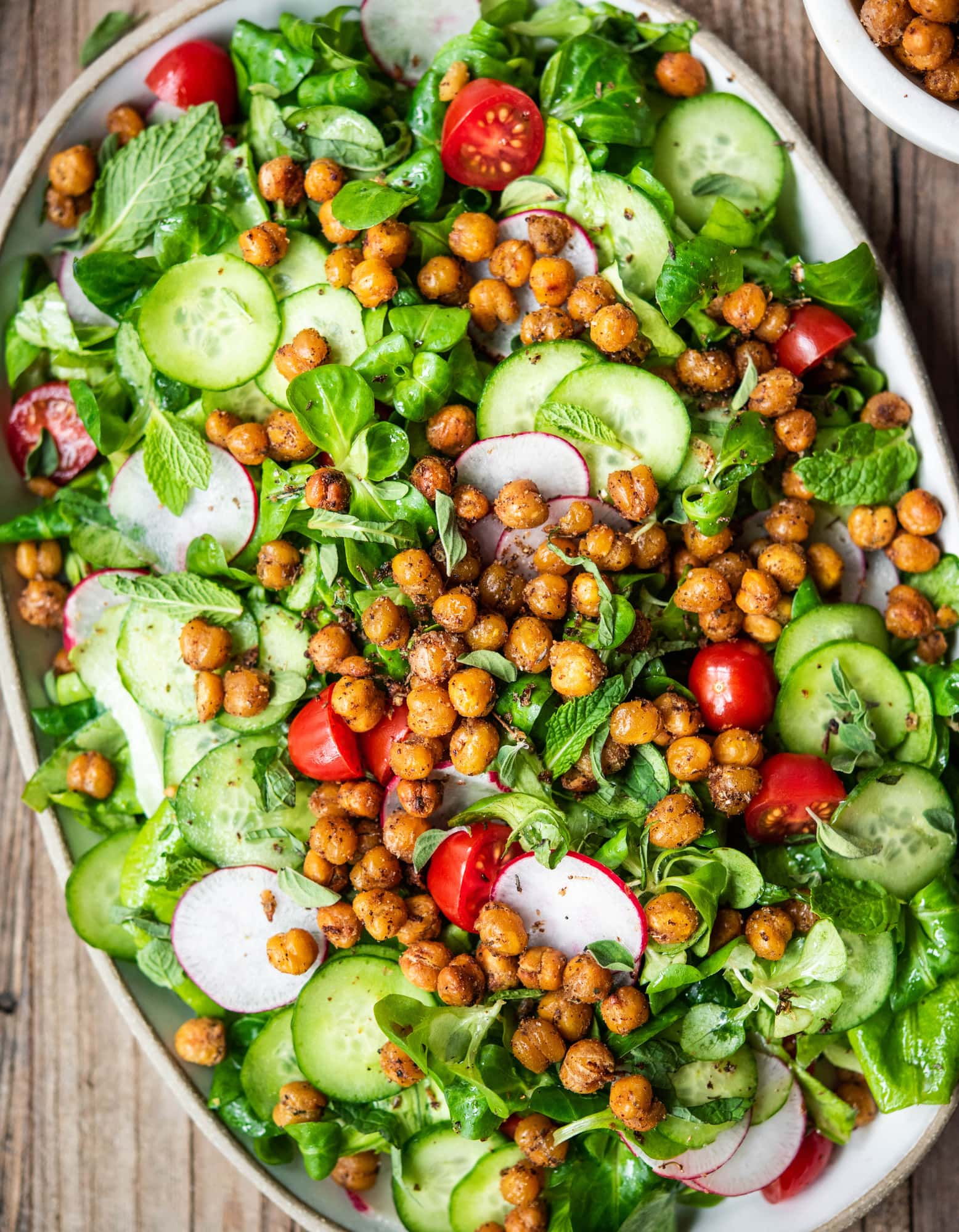 overhead view of fattoush salad with chickpeas
