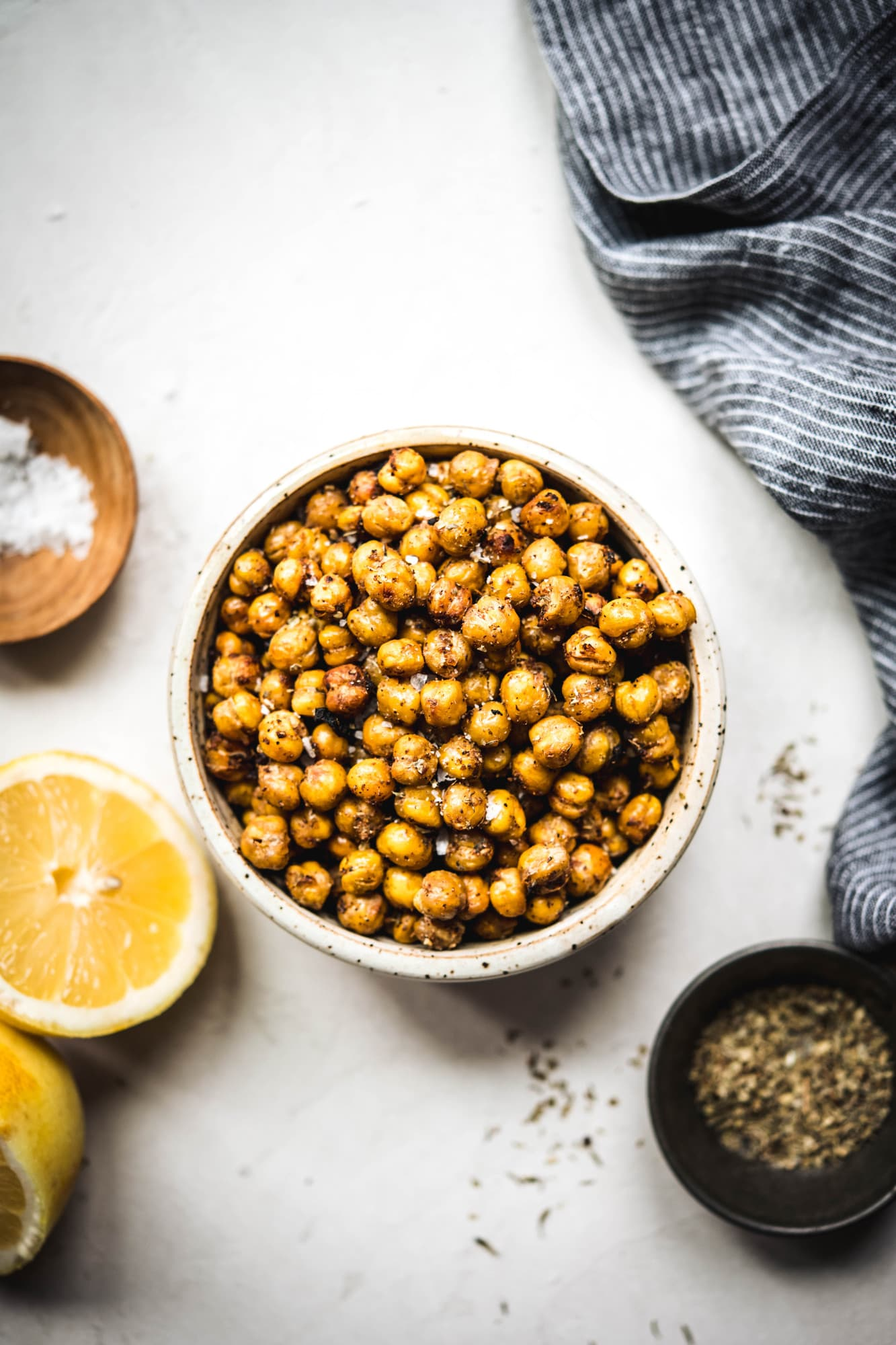 overhead of crispy za'atar chickpeas in a bowl