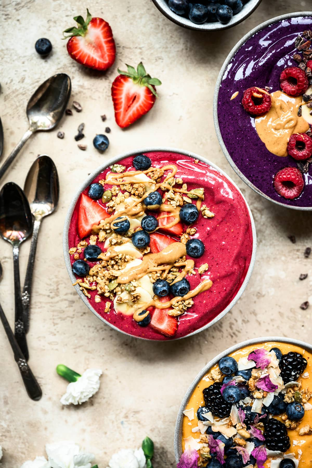 overhead view of berry smoothie bowl