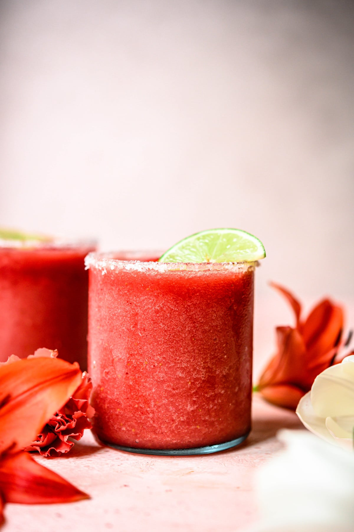 side view of frozen watermelon margaritas