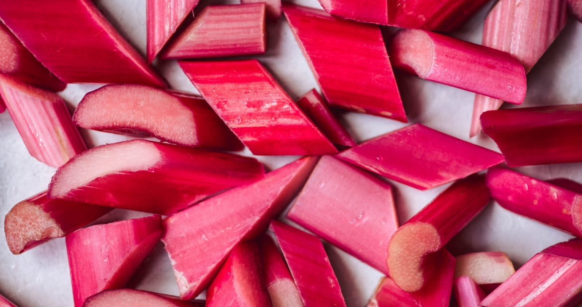 Macro photography of sliced rhubarb