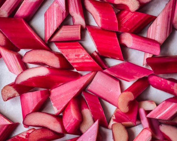 Macro photography of sliced rhubarb