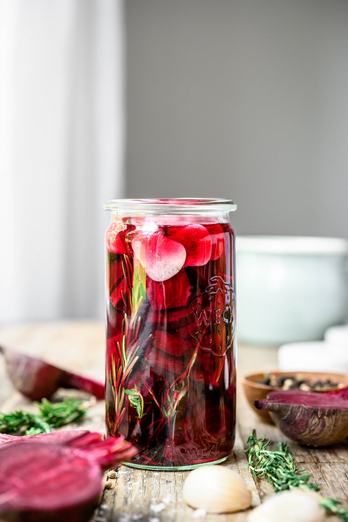 Beet pickles in a quart jar