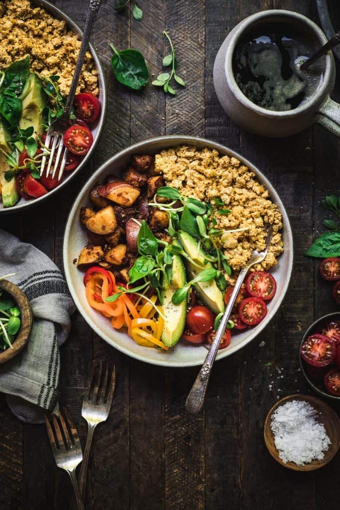 overhead view of high protein savory vegan breakfast bowl with scrambled tofu