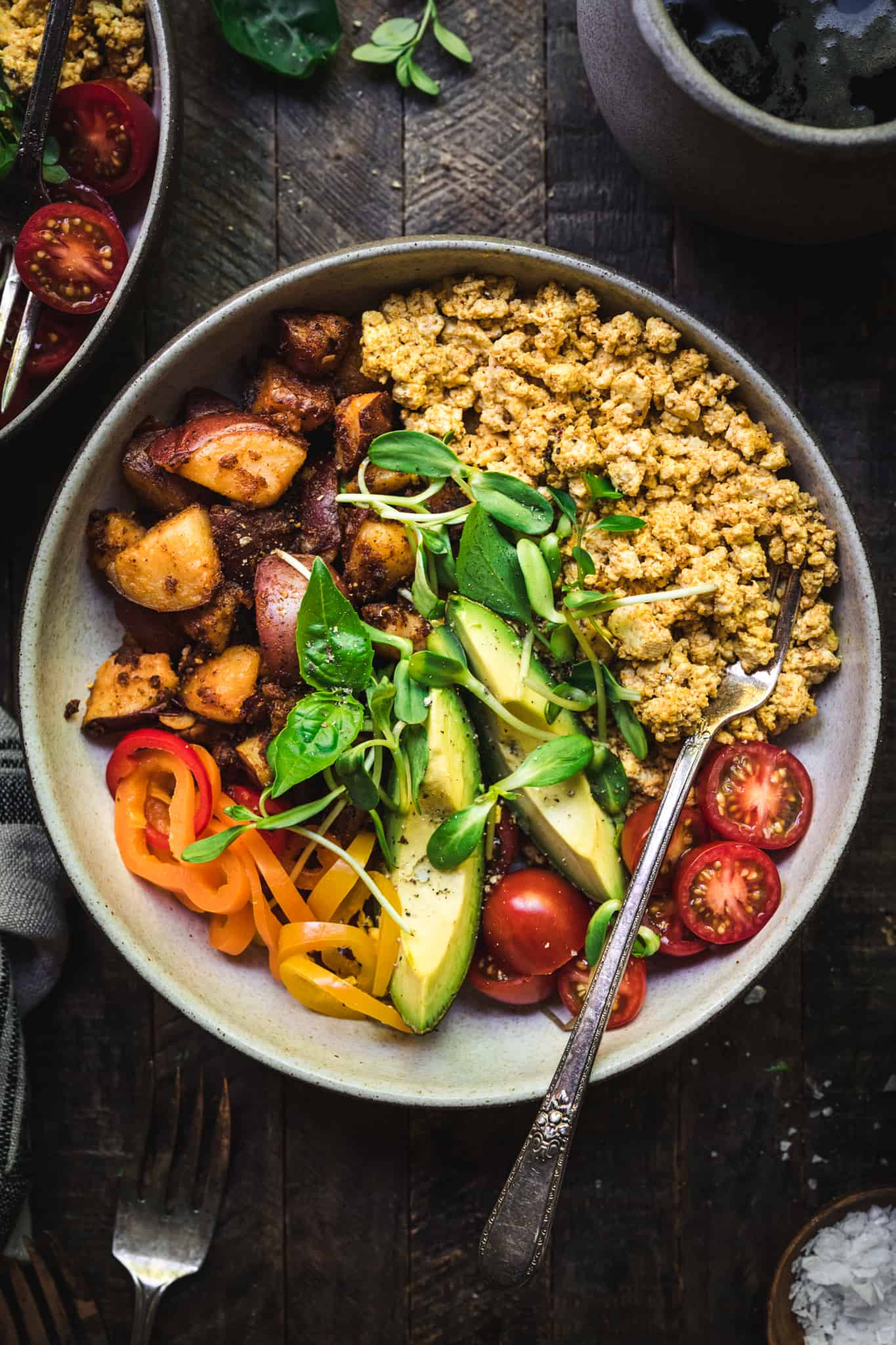 close up overhead view of savory vegan breakfast bowl