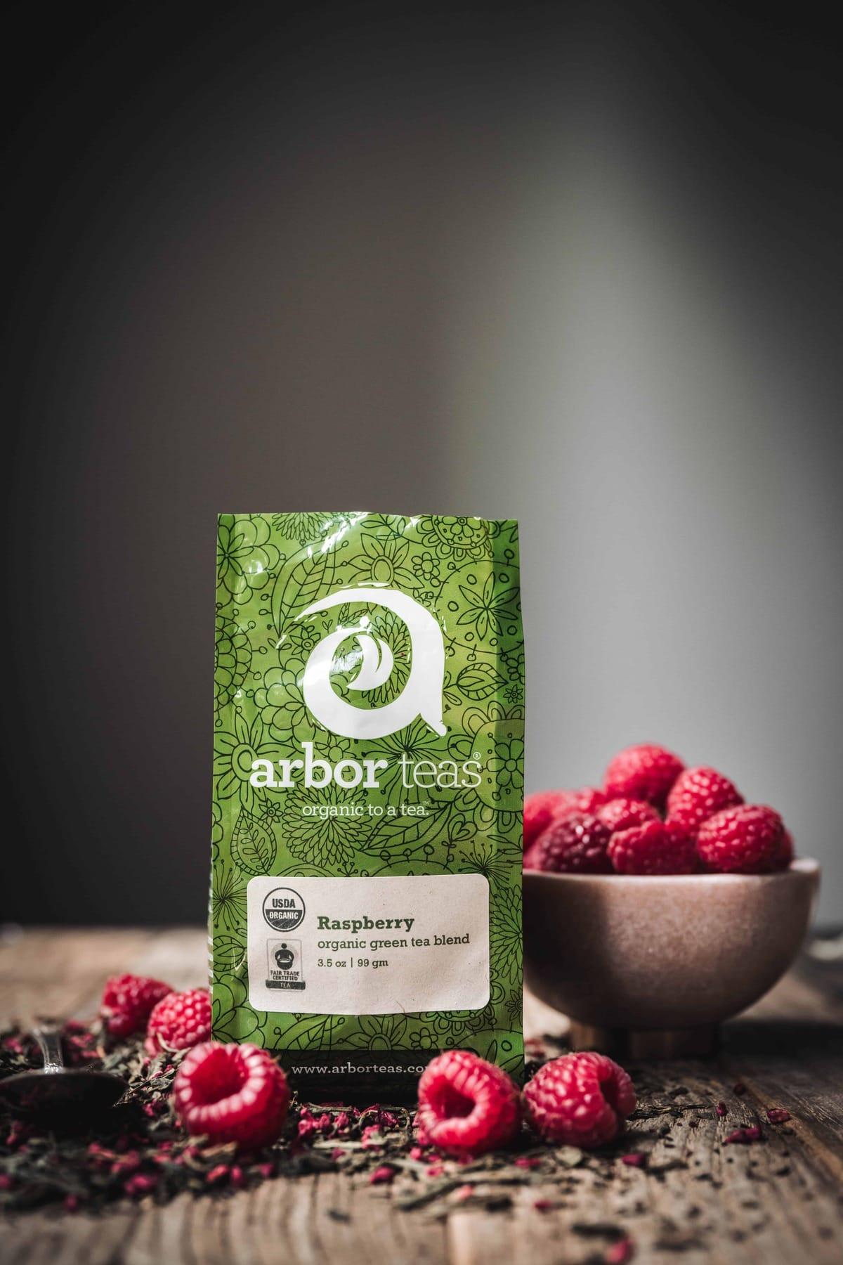 Side view of Arbor Teas Raspberry Green Tea