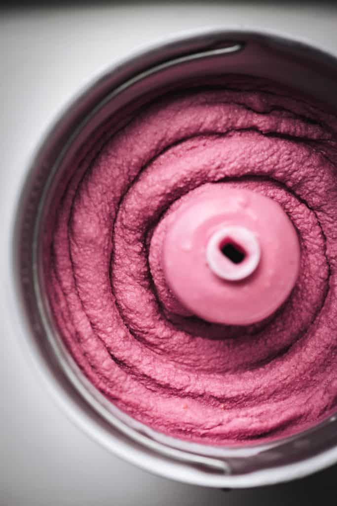 Overhead view of freshly churned raspberry ice cream
