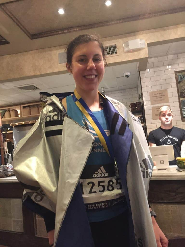 Lizzy Briskin after finishing Boston Marathon 2018