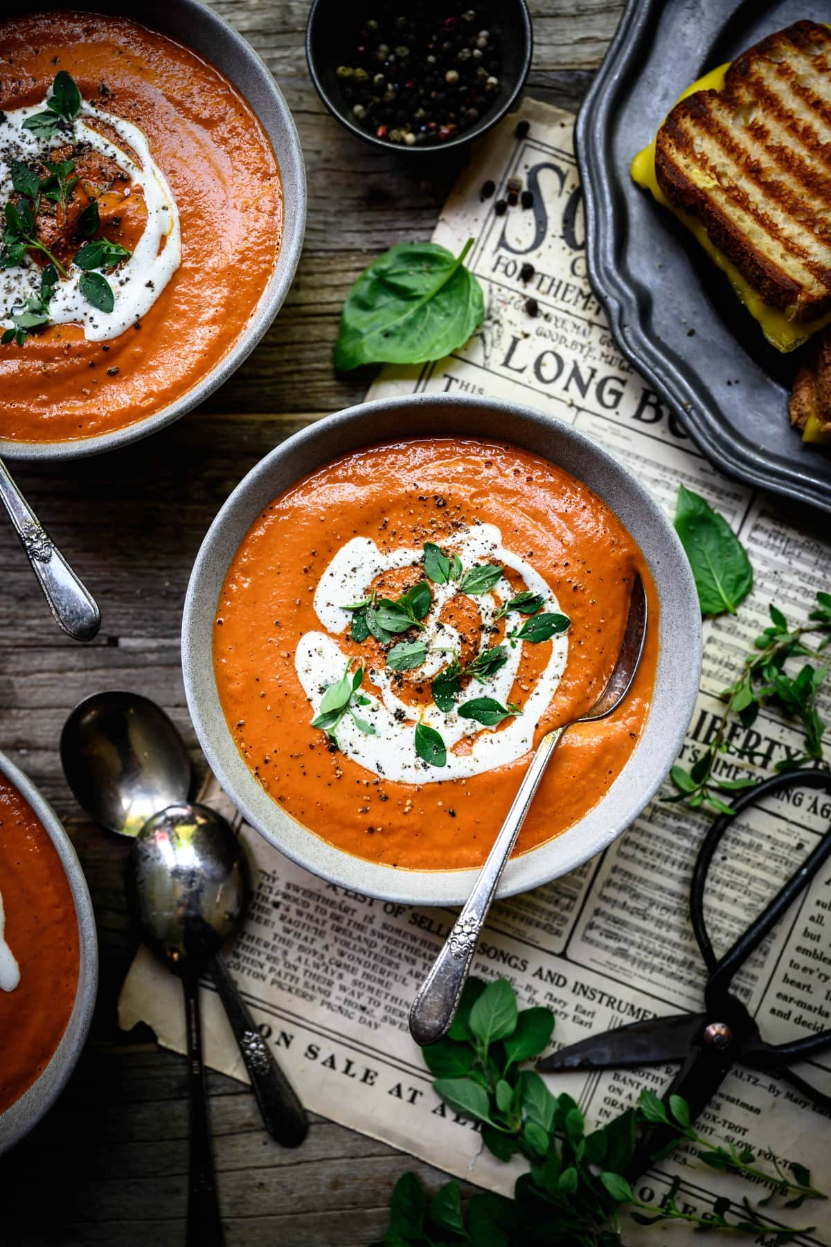 overhead view of vegan tomato soup in bowl