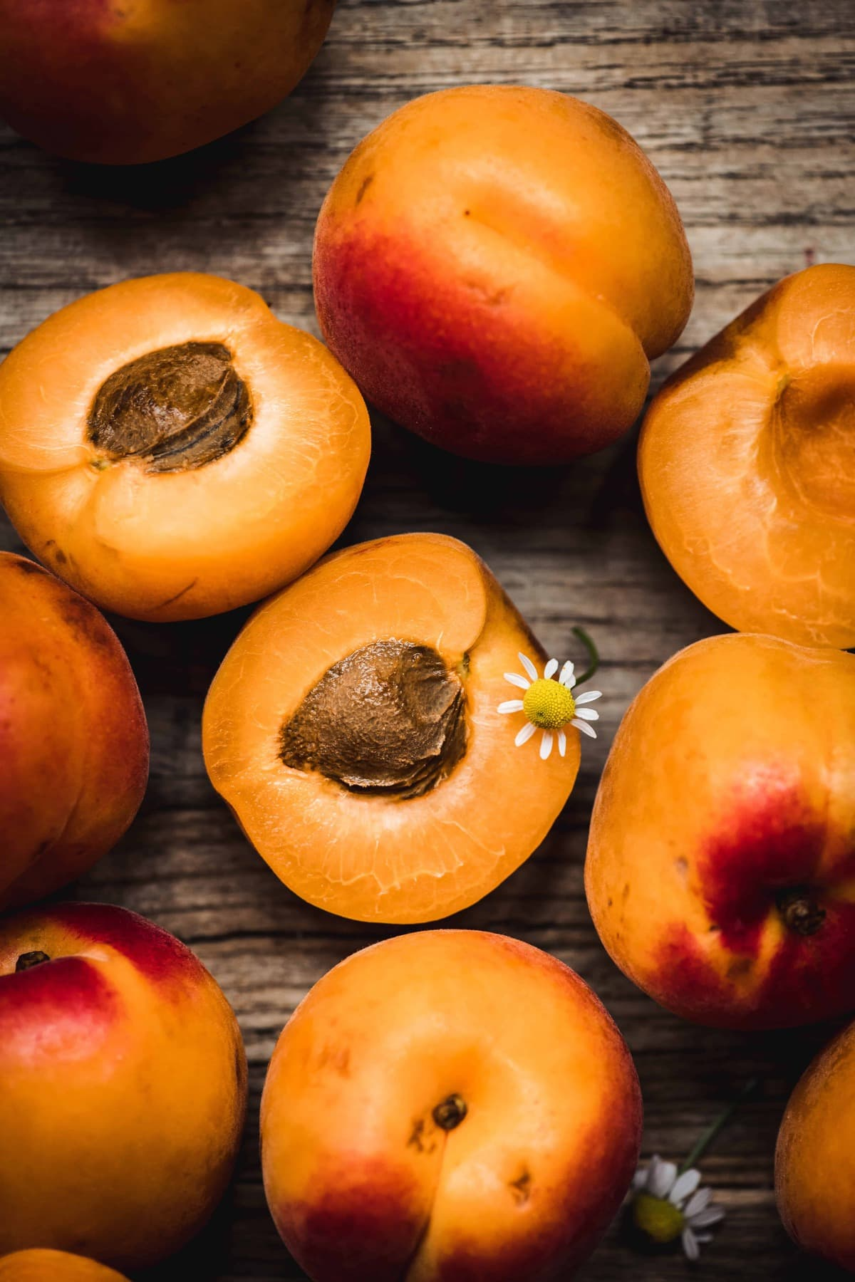 close up overhead view of beautiful fresh apricots with chamomile flowers on rustic wood background