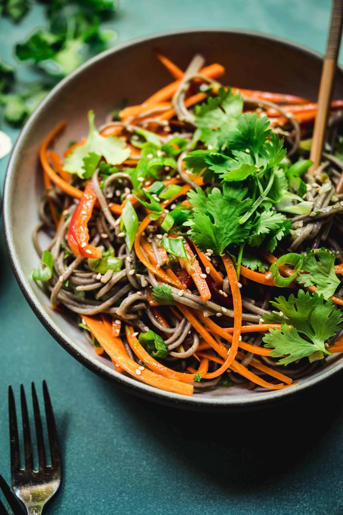 45 degree angle of cold gluten free soba noodle salad with fresh cilantro