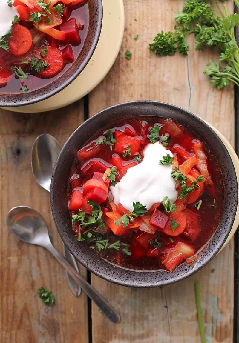 overhead of dairy free vegan borscht one of the best chilled vegan soups