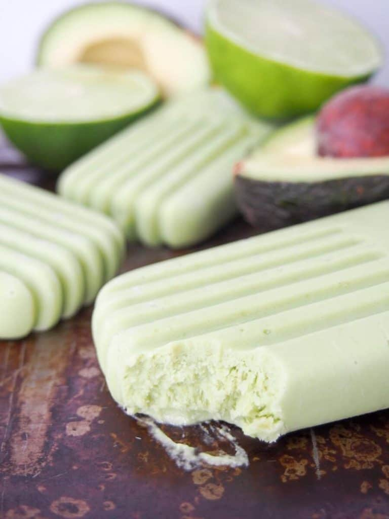 side view of vegan mexican avocado popsicles