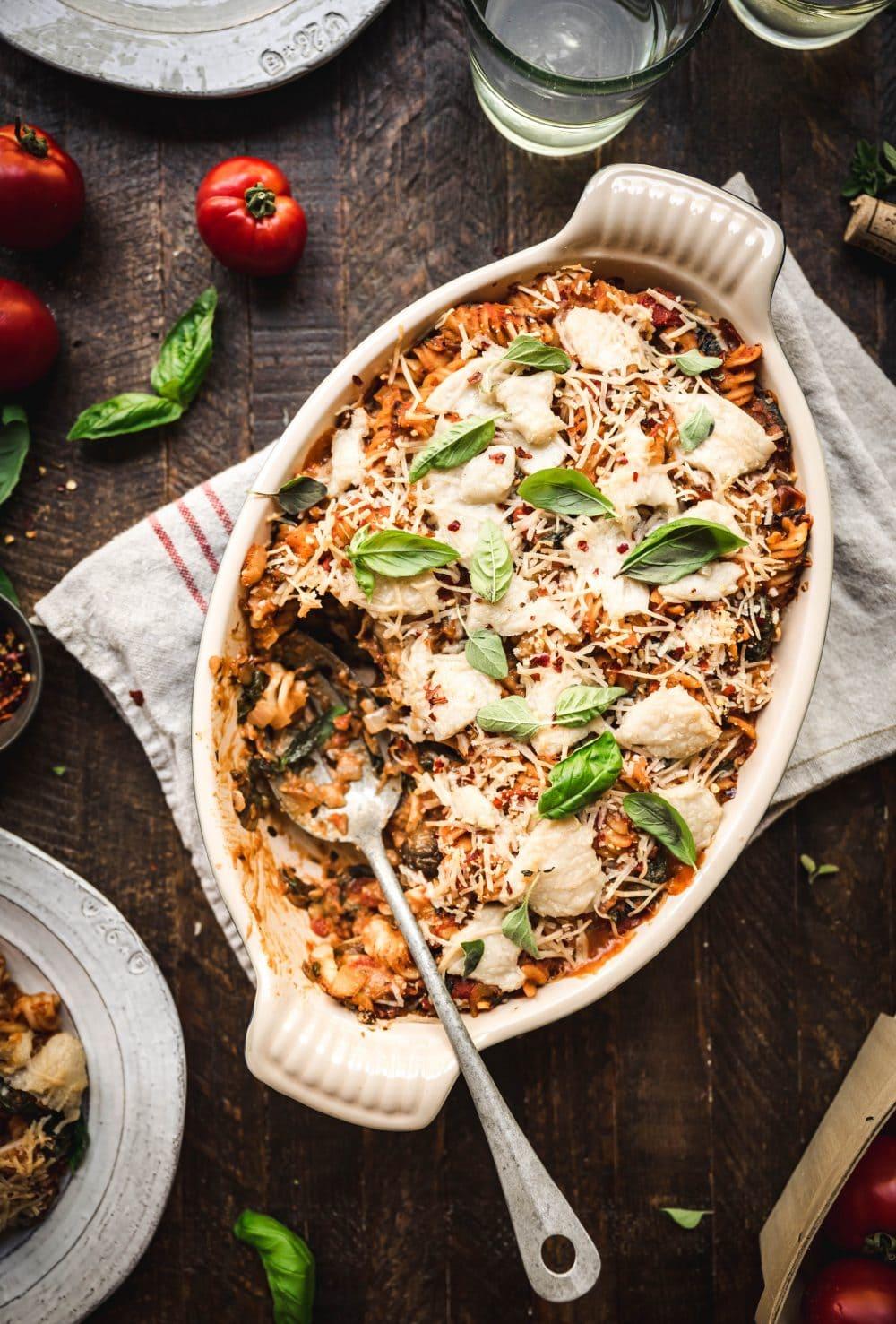 overhead view of vegan pasta bake with vegan cheese