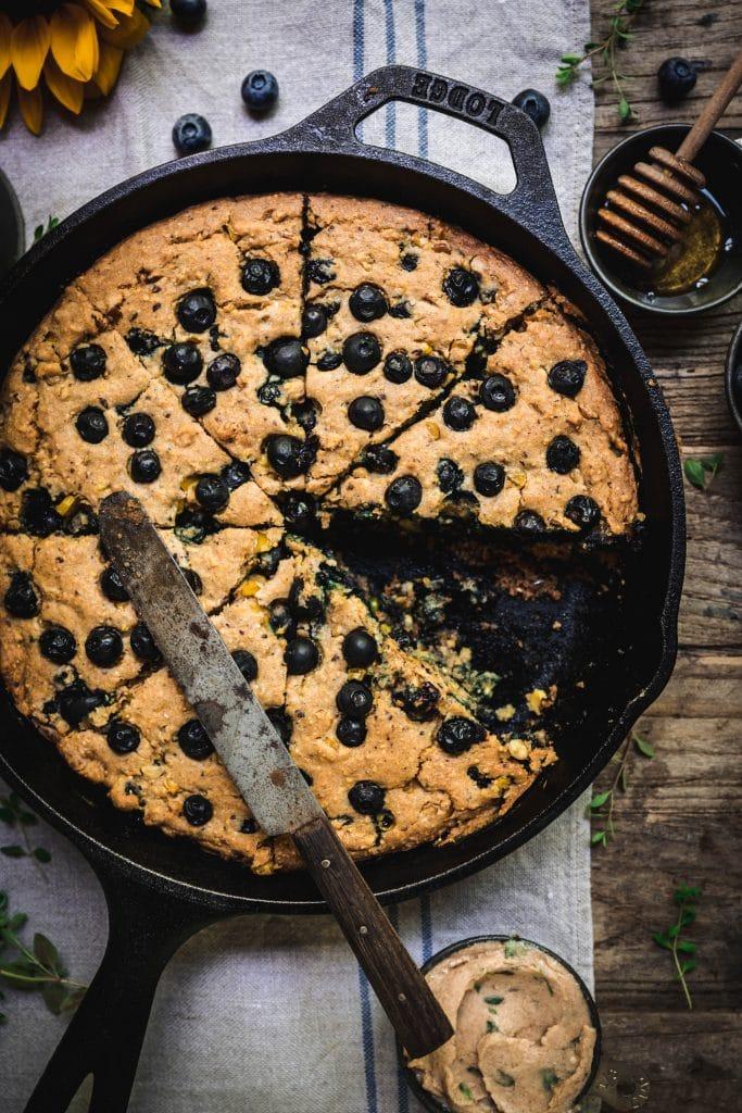Gluten Free Blueberry Cornbread & Honey-Thyme Butter (Vegan)