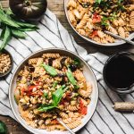 overhead of two bowls of homemade vegan eggplant pasta