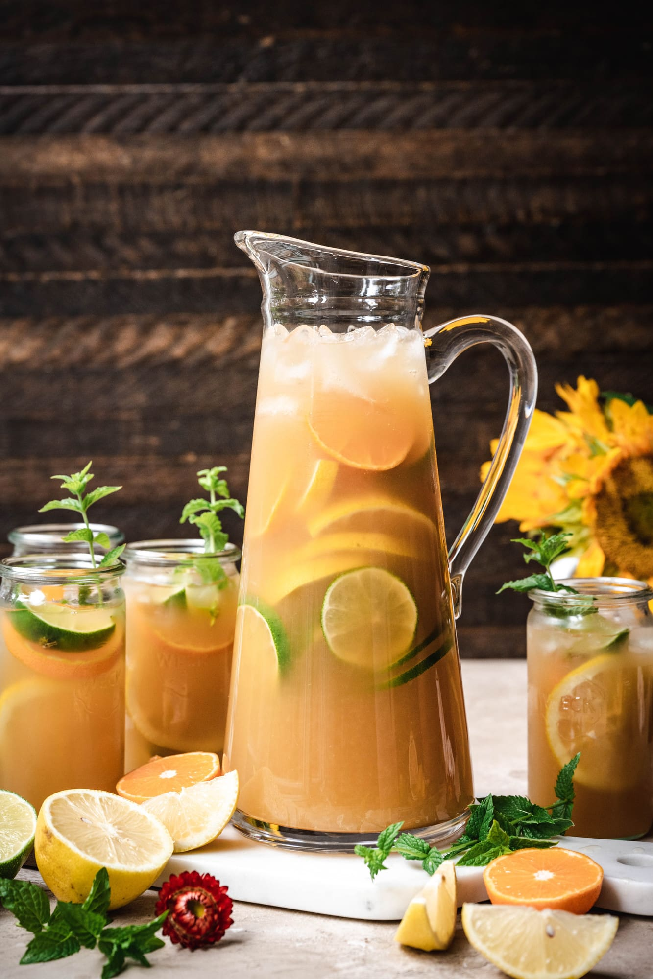 side view of large pitcher filled with long island iced tea (cola free)