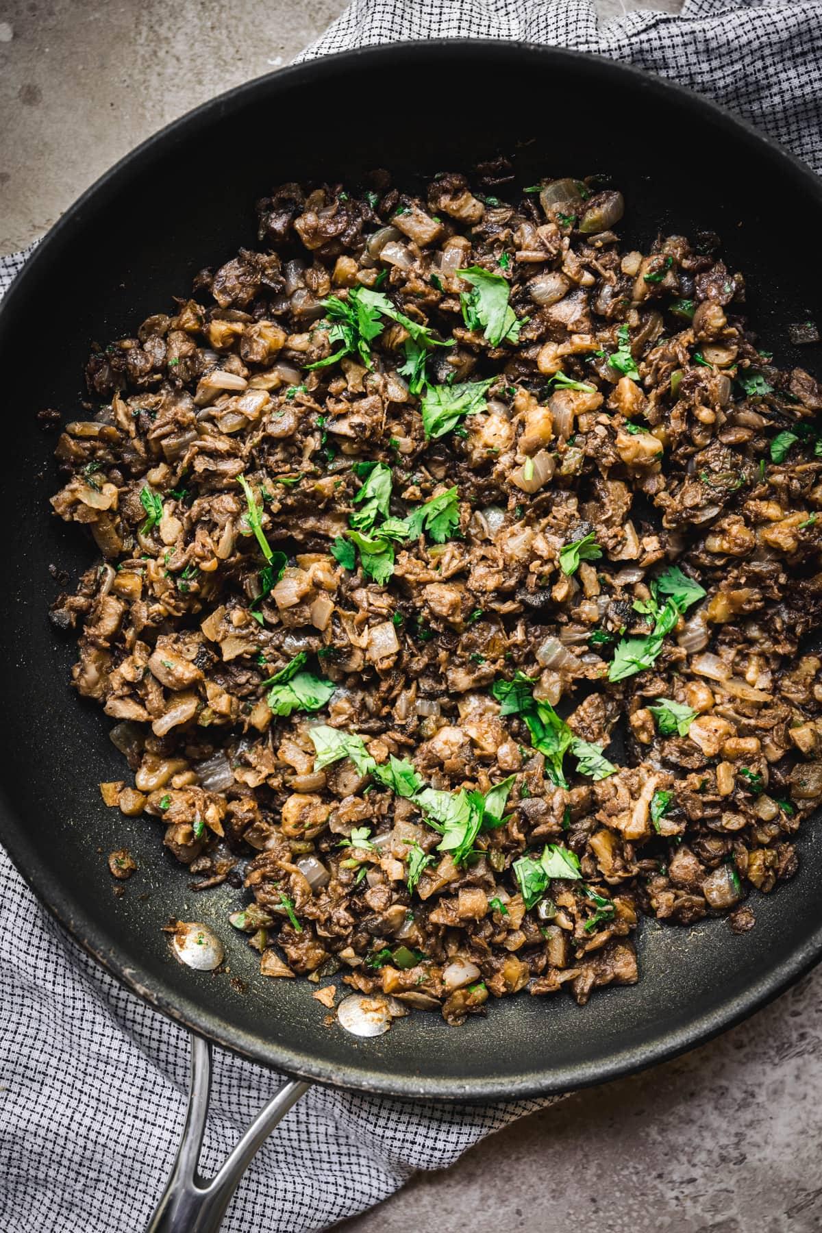 overhead of vegan taco filling in a saute pan