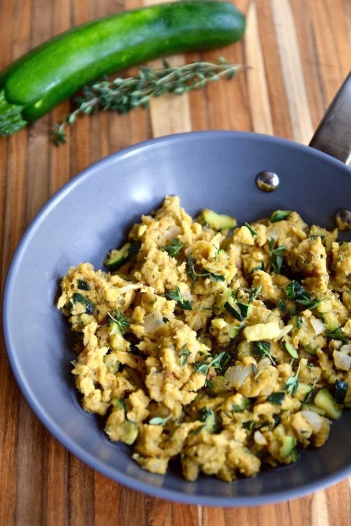 45 degree overhead of savory chickpea scramble with zucchini