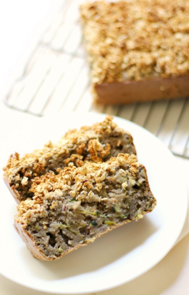 overhead of gluten free and vegan zucchini bread with maple oat crumble