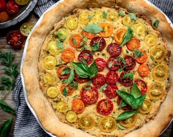 overhead view of vegan gluten free tomato quiche
