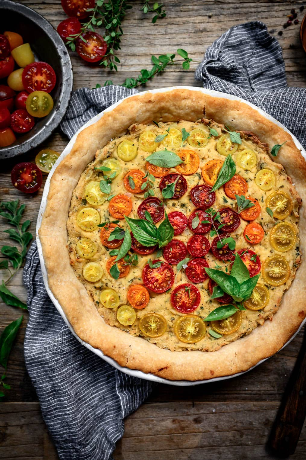 overhead view of vegan gluten free tomato quiche