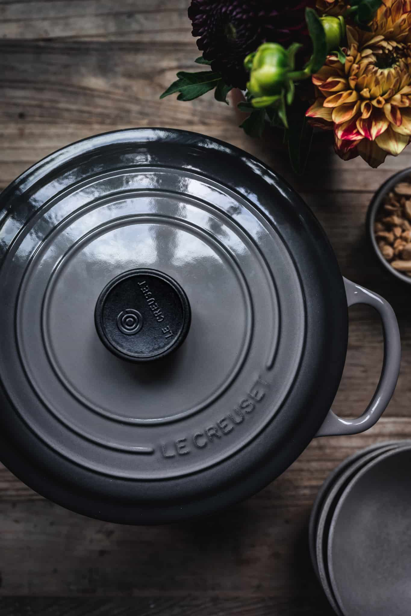 overhead view of beautiful le creuset dutch oven