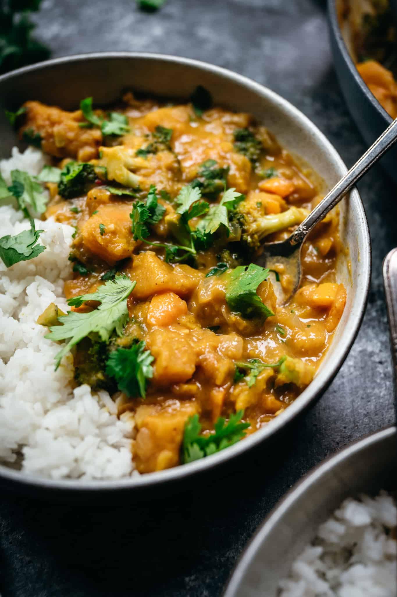 45 degree close up of vegan pumpkin curry with jasmine rice