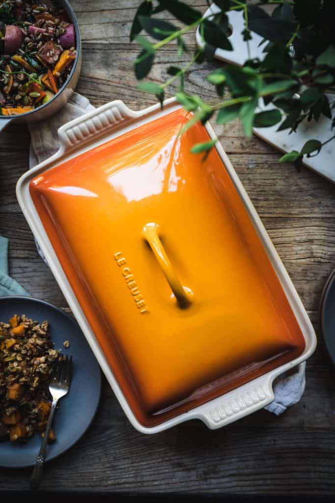 Overhead view of beautiful orange casserole dish from Le Creuset