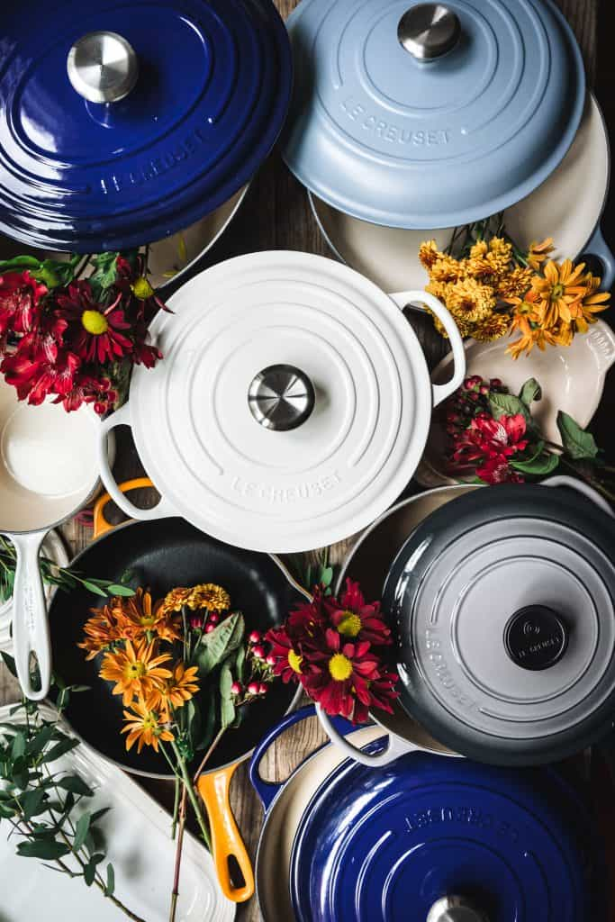 overhead view of an assortment of Le Creuset cookware