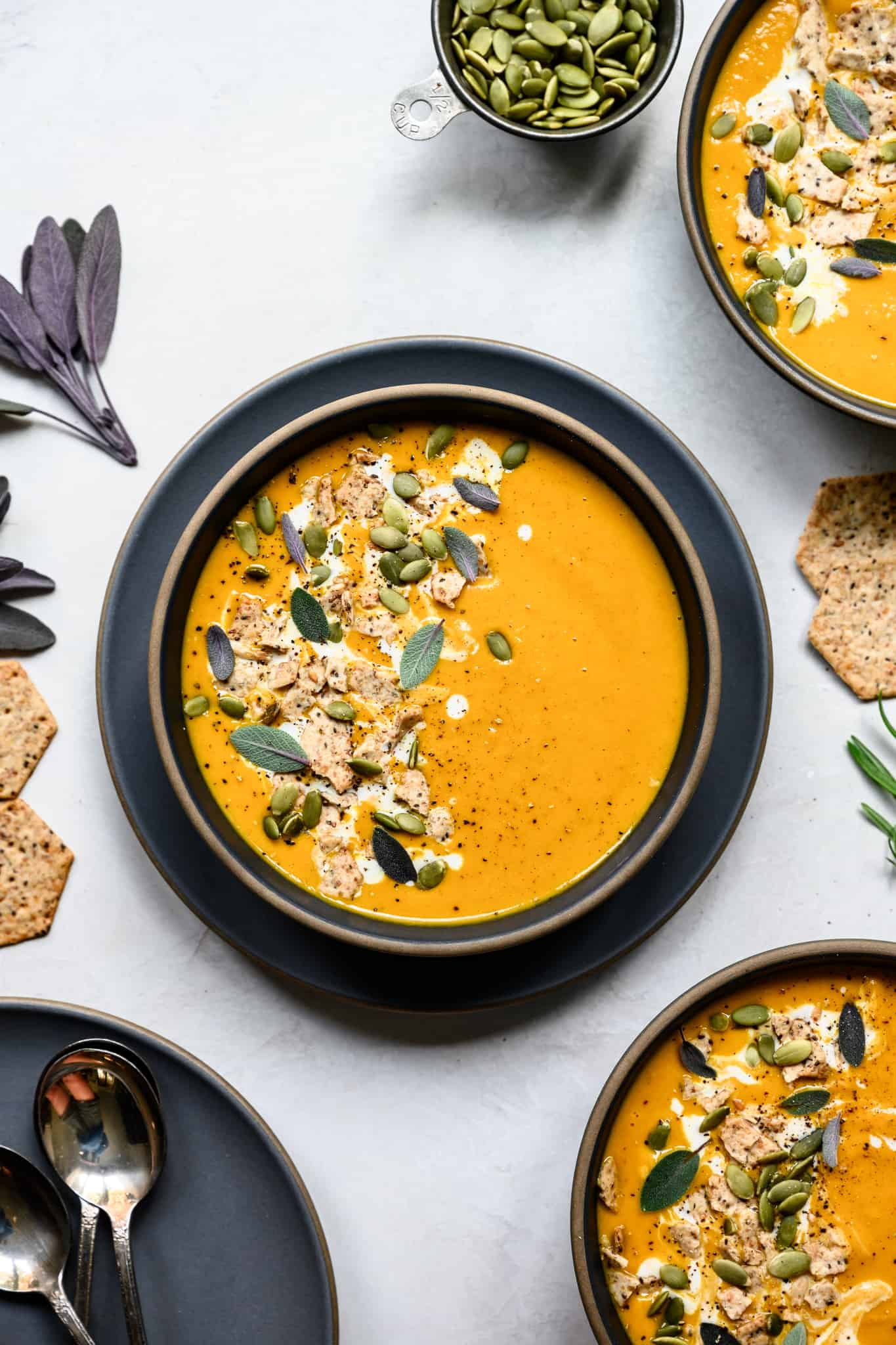 overhead view of carrot ginger soup