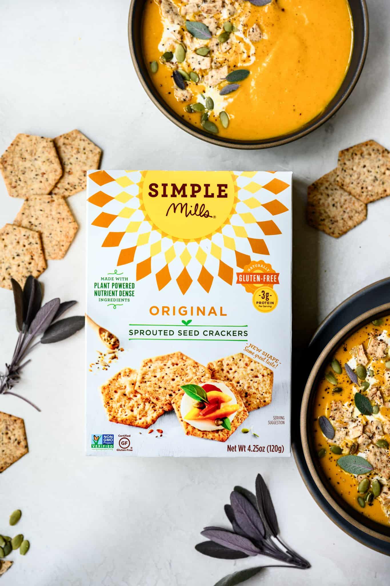 overhead view of simple mills crackers