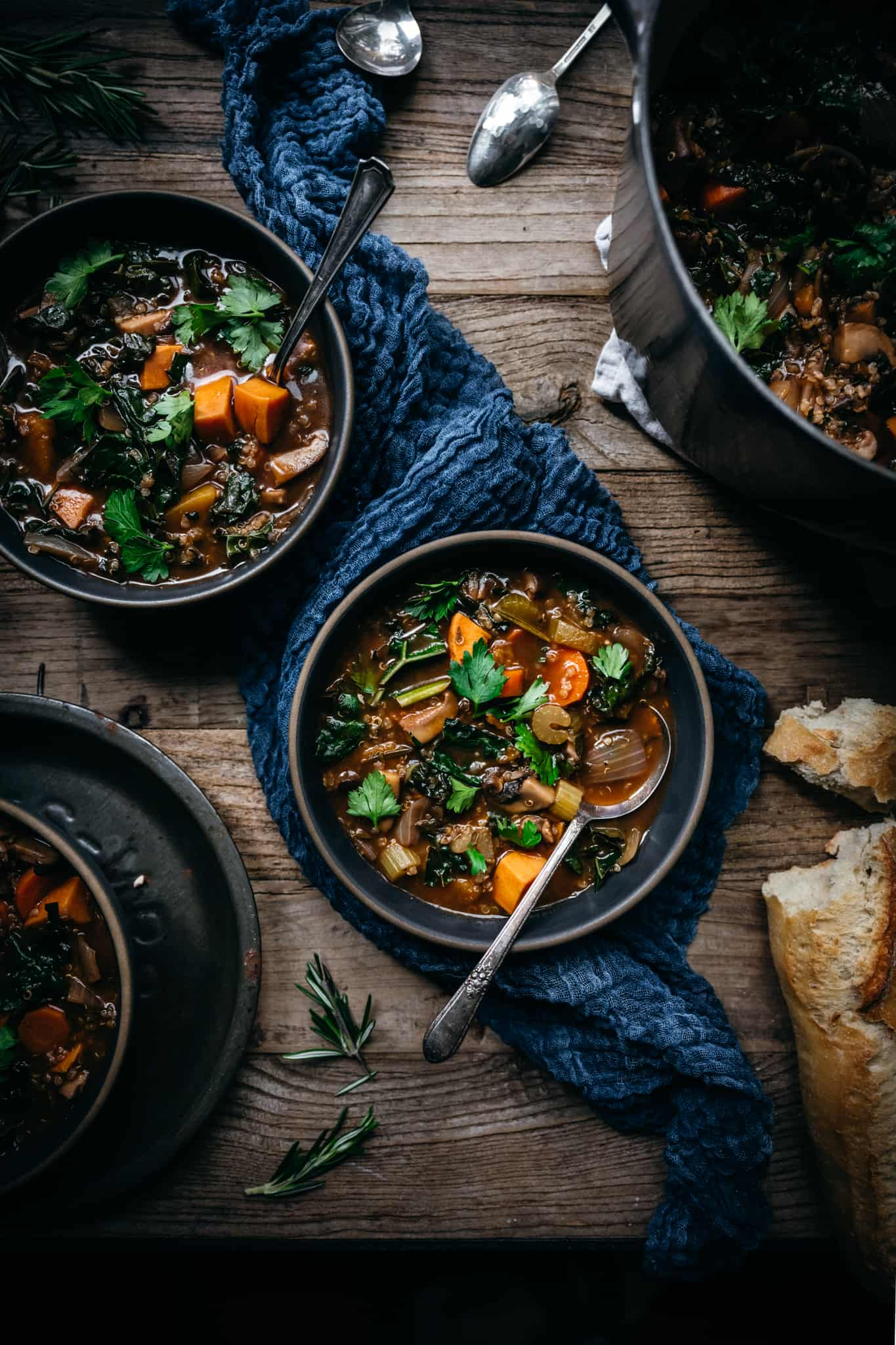 overhead view of 2 bowls of quinoa vegetable stew on wood table